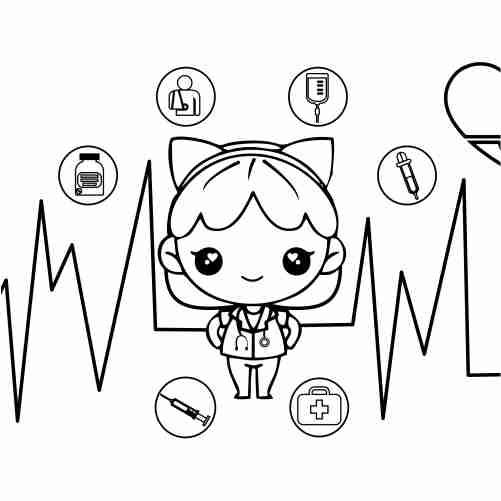 Kawaii doctor doll coloring pages for kids