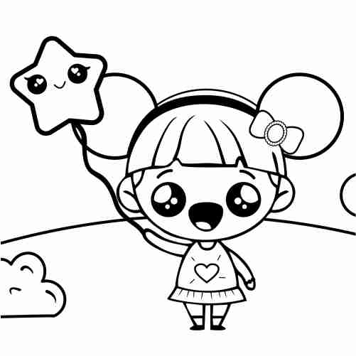 Happy kawaii doll walking with star balloon coloring pages