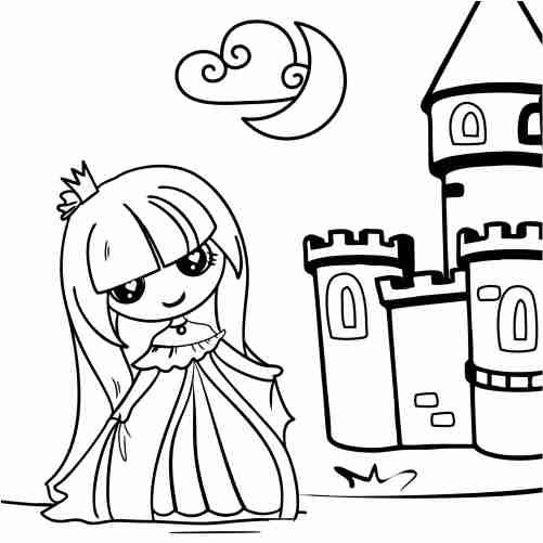 Kawaii princess doll in her castle coloring pages for kids