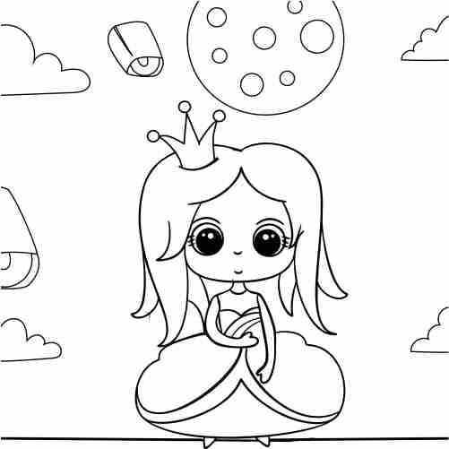 Kawaii princess date night coloring pages for kids
