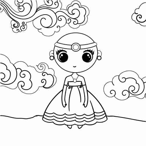 kawaii strong princess coloring pages for kids