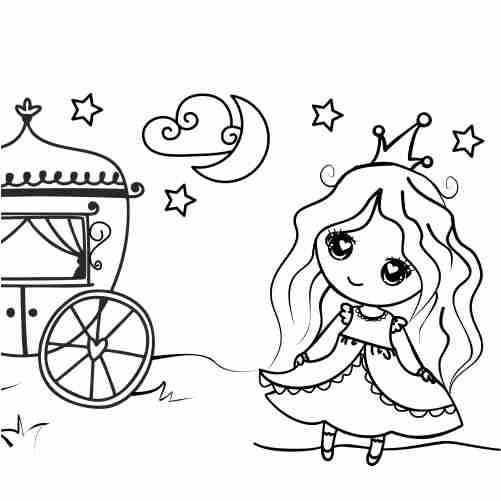 Funny kawaii princess with her carriage coloring pages