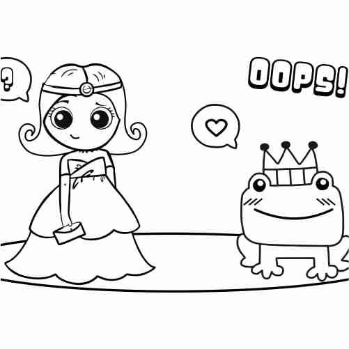 Kawaii princess with prince toad coloring pages