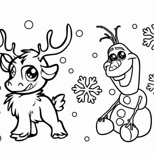 Christmas friends, olaf and reindeer coloring pages