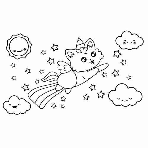 Rainbow and cat-unicorn kawaii for coloring