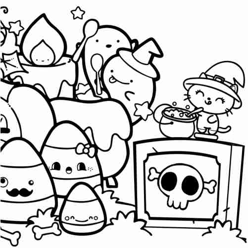 Halloween in Scaryland with friends coloring pages