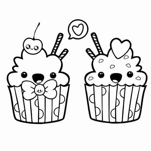 kawaii happy cupcake coloring pages