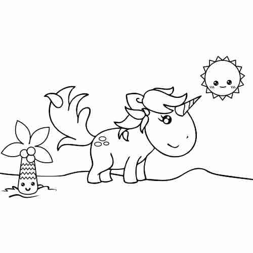 Dino Unicorn kawaii coloring page