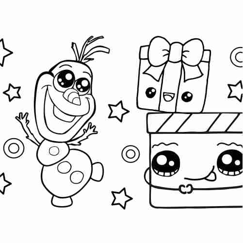 kawaii baby olaf with christmas gifts coloring pages