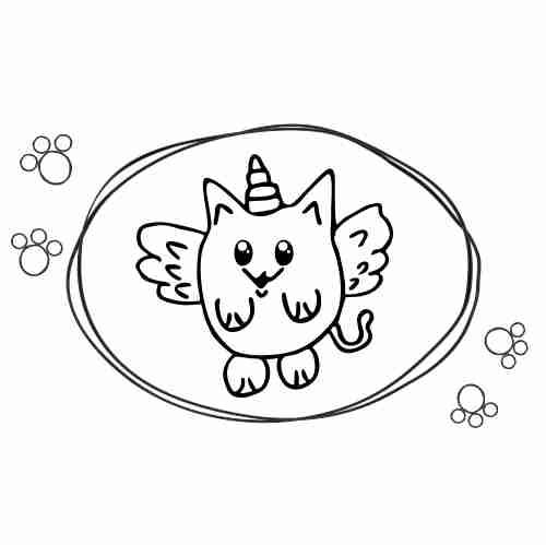 Kawaii Unicorn cat coloring page
