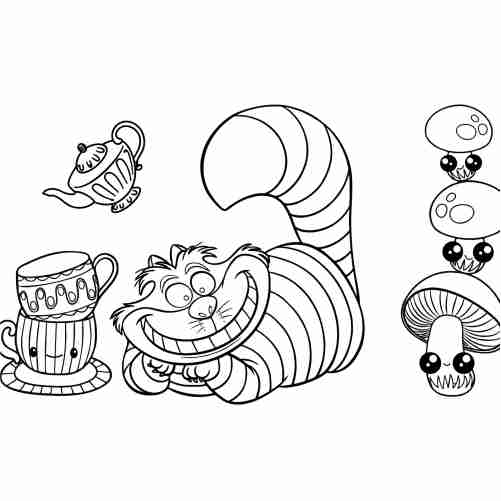 Alice in wonderland cat coloring pages for kids