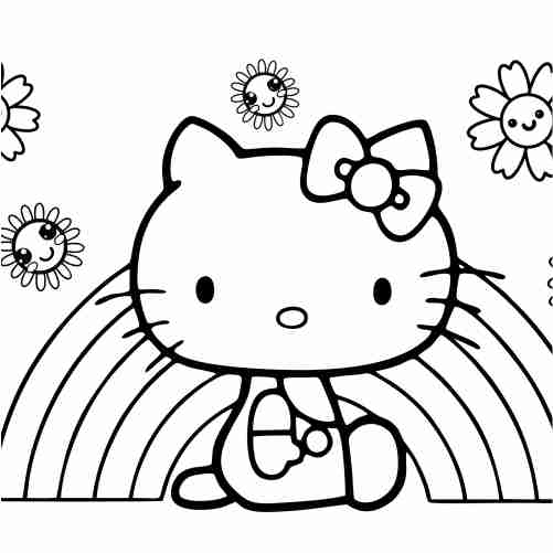 Hello Kitty with rainbow coloring pages for kids