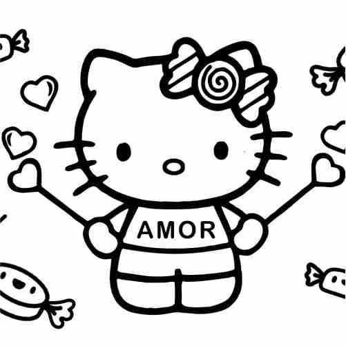 Hello kitty with candy and hearts coloring pages