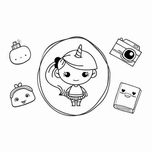 Kawaii unicorn girl coloring page
