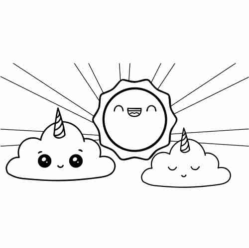 Kawaii unicorn cloud