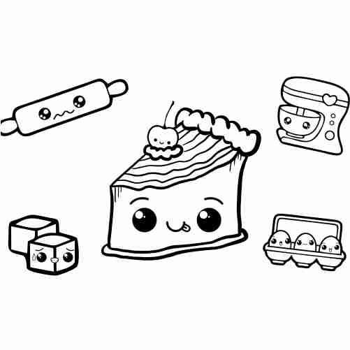 kawaii cake friends coloring pages