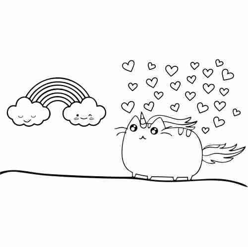 Pusheen in love coloring page for kids