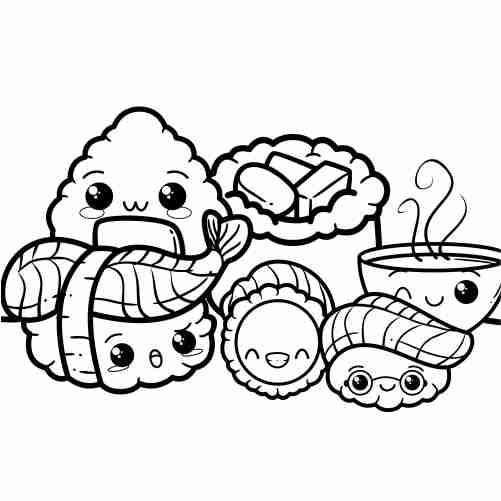 kawaii happy sushi friends coloring pages