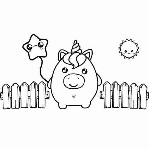Unicorn squishy mascot coloring page para colorear ...