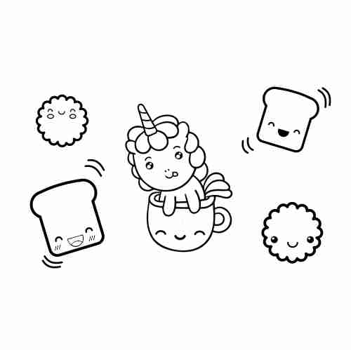 Kawaii baby unicorn coloring page