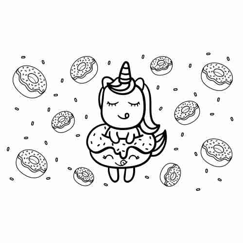 Kawaii baby unicorn and donuts coloring pages