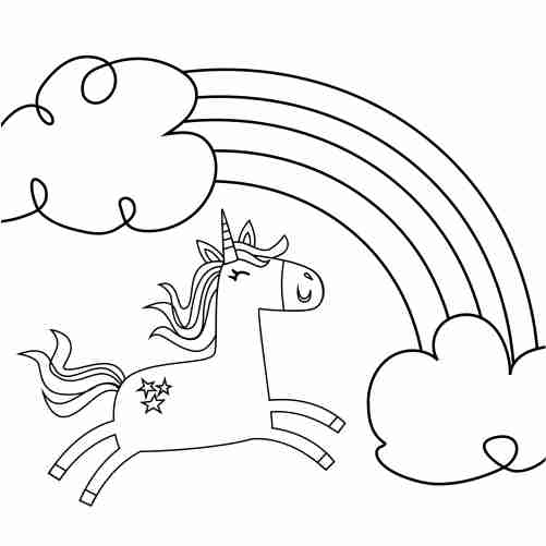 Rainbow with jumping unicorn coloring pages for kids