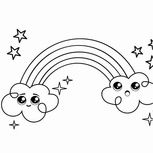 funny kawaii rainbow and stars coloring pages for kids