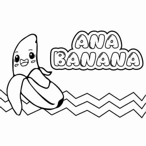kawaii Ana banana coloring pages
