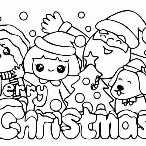 kawaii beautiful christmas coloring pages