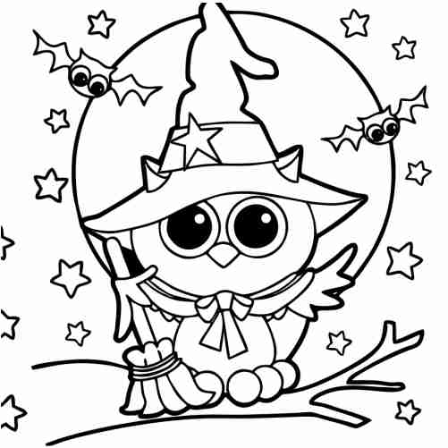 kawaii owl and broom in halloween coloring pages