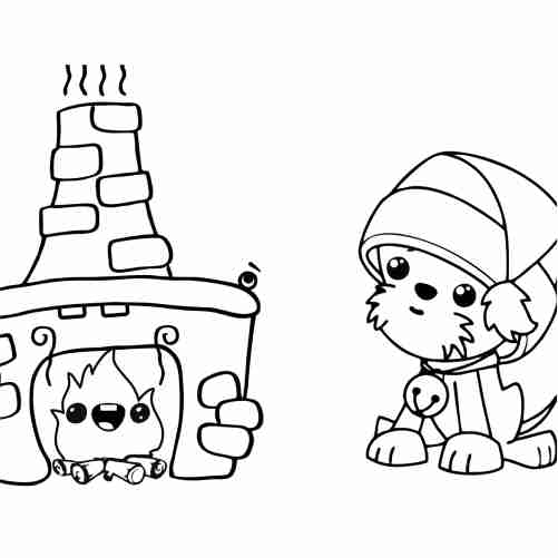 kawaii puppy happy christmas coloring pages