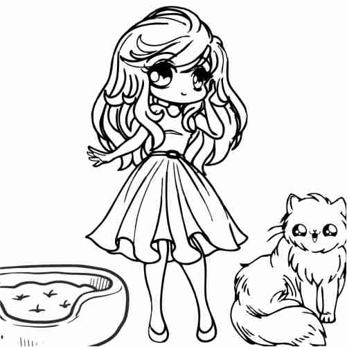 kawaii Girl with best friend cat coloring pages