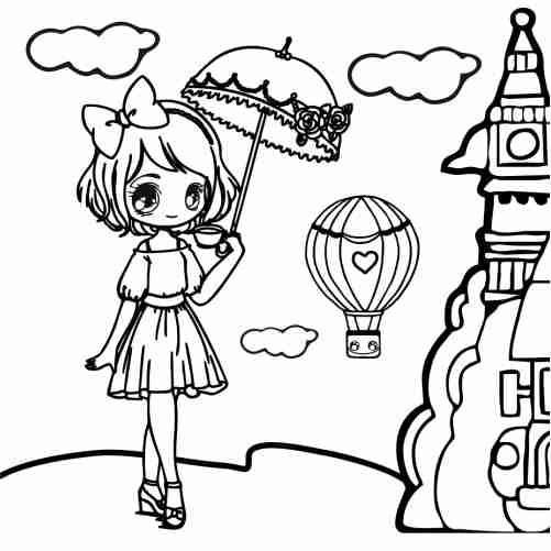 Kawaii girl in London coloring pages