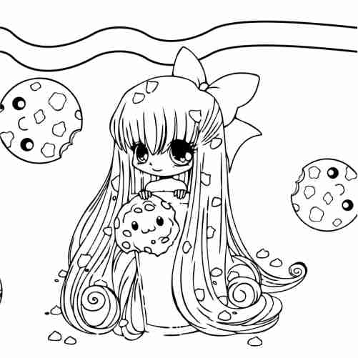 Happy kawaii girl and cookies coloring pages