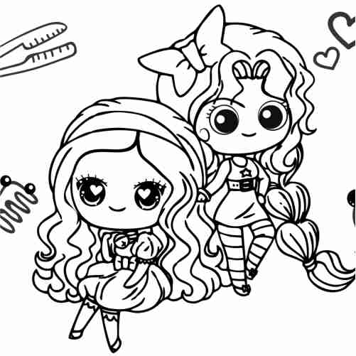kawaii girls best friends coloring pages