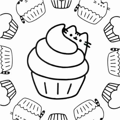 Kawaii pusheen cupcake coloring pages