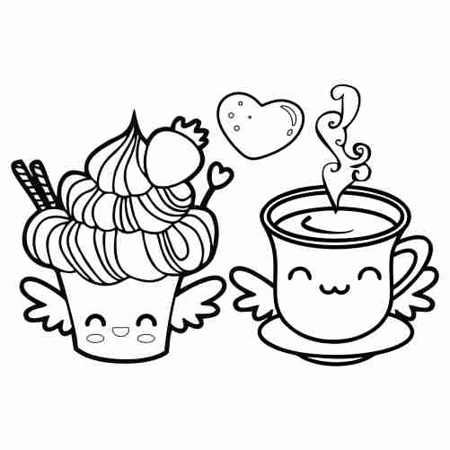 Adorable kawaii cupcake and coffee coloring pages