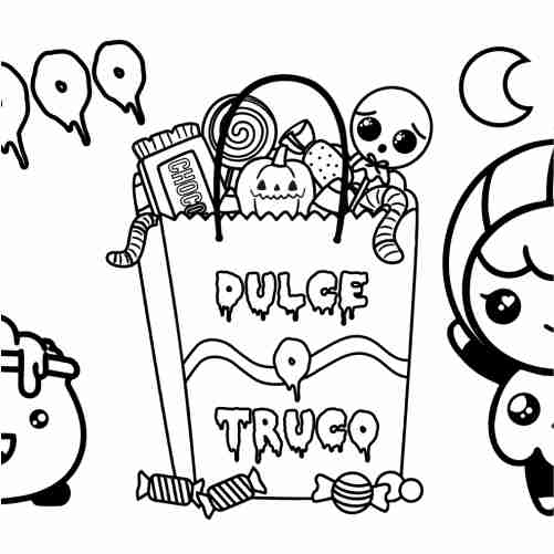 Halloween Girl Trick or Treat Coloring Pages