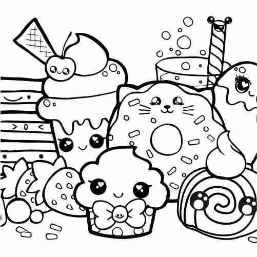 kawaii happy sweet friends coloring pages