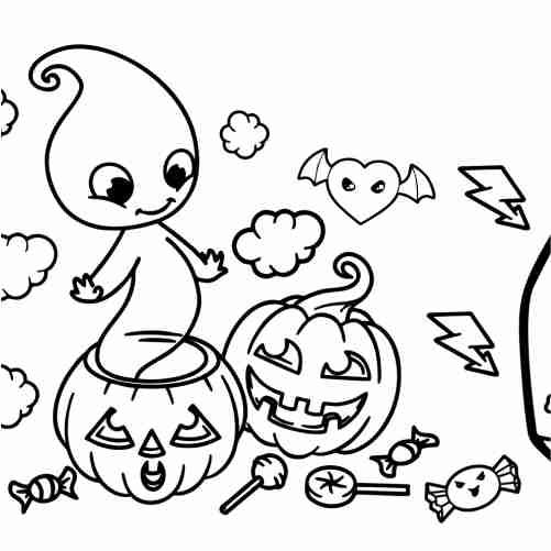 Best friends ghost and pumpkin halloween coloring pages