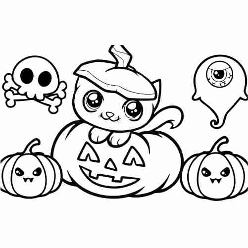 Funny kawaii cat in pumpkin coloring pages for kids