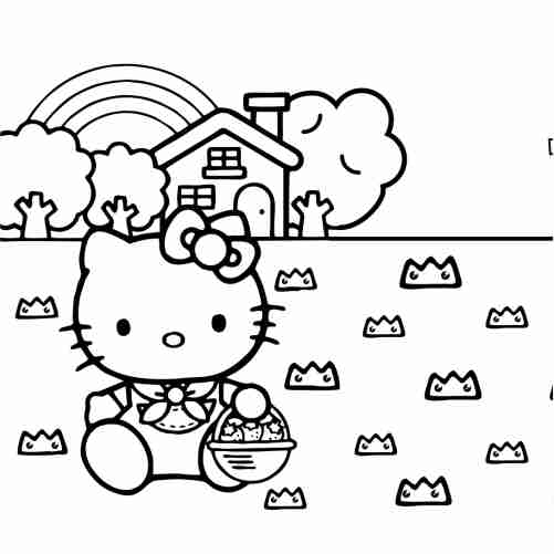 Hello kitty in the country house with and rainbow coloring pages