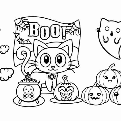 kawaii kitten and ghost in halloween coloring pages