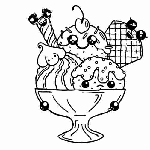 Kawaii ice cream friends in cup coloring page for kids