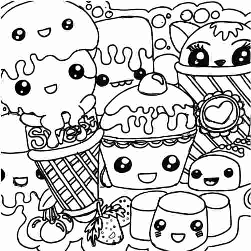 Best friends party kawaii ice cream coloring pages