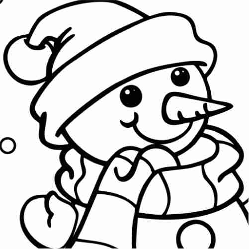 kawaii happy snow man coloring pages