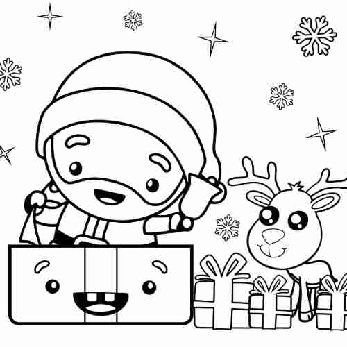 kawaii Santa with reindeer at christmas coloring pages