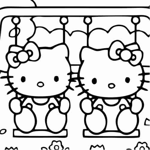 Hello kitty playing on swing coloring pages for kids