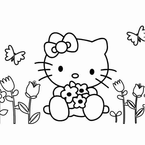 Hello kitty in the forest with butterflies coloring pages