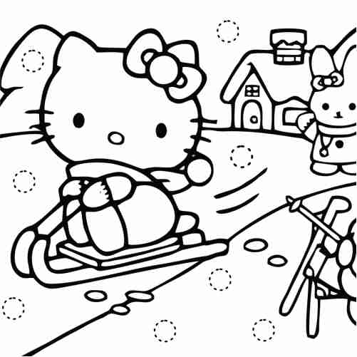 kawaii Hello kitty playing coloring pages